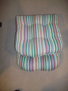 Patio Cushions, Green Stripe - NEW