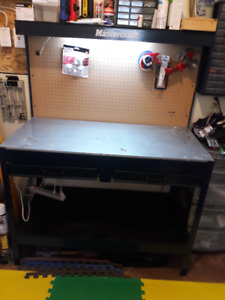 Metal workbench with light and shelf pegboard  and 2 drawers.