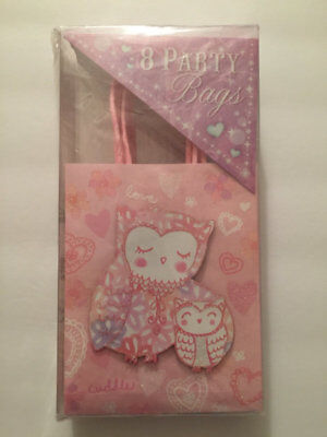 Owl Gift Bags (Gift Bags Punch Studio Owl Party Glittered Pink and White 8)