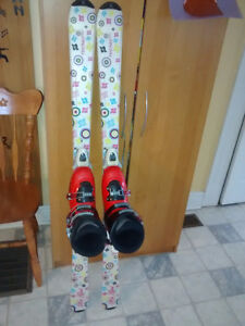 Girls skis (140cm) and boots (sz8)