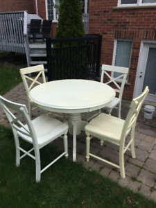 Table and Chairs - hardwood, rustic, whitewashed