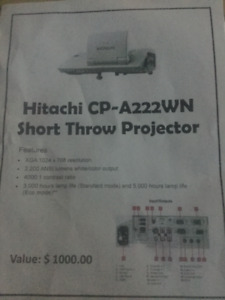 Projector (Hitatchi CP-A222WN Short Throw)