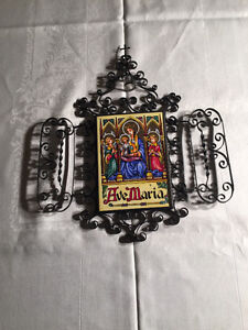 """""""RARE"""" Vintage Folding """"Virgin Mary"""" Wrought Iron """"Triptych"""""""
