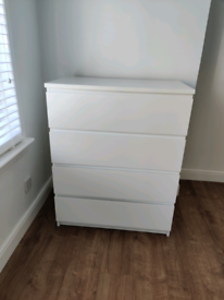 Gloss White IKEA Malm Chest of Drawers.