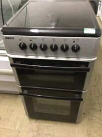 Beko Silver and black 50cm wide Electric Cooker