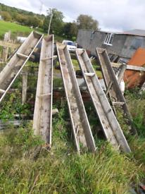 5 x wooden feeding trough