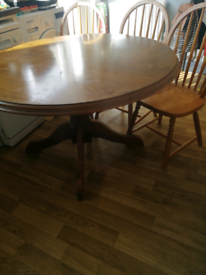 Solid wood pine table with 3 chairs