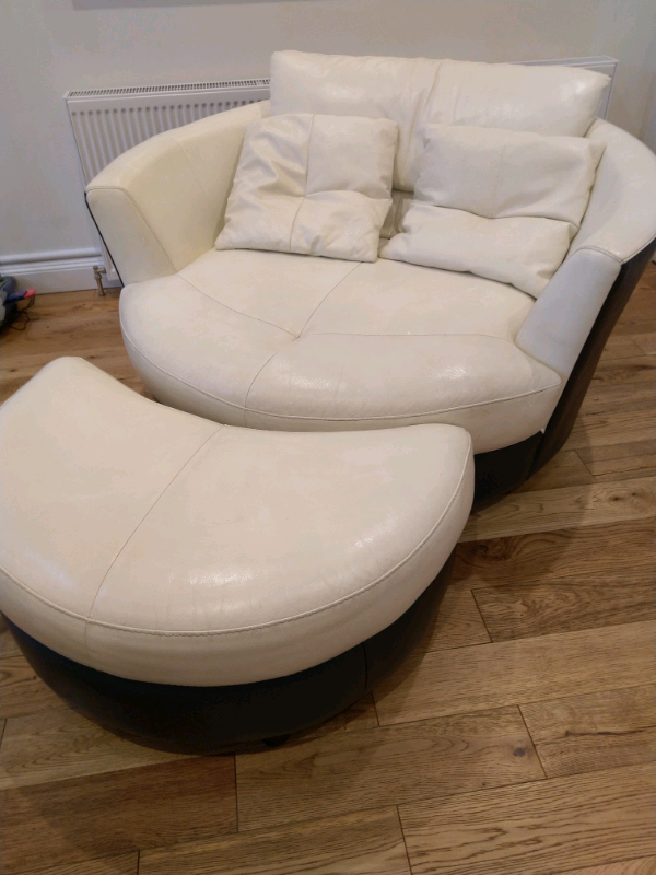 Leather Cuddle Sofa With Footstool In