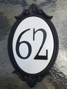 Decorative house number 62