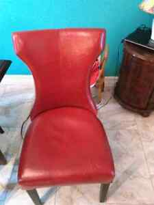 NEW PRICE!!!  Hardwood table and six leather chairs St. John's Newfoundland image 2