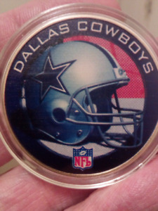 Large 40mm NFL Dallas Cowboys Gold Plated, Colored Coin.