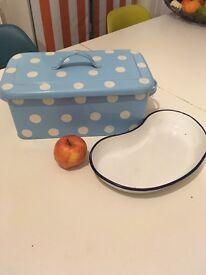 Laura Ashley bread bin and enamel kidney shaped bowl