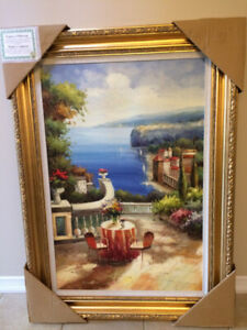 Brand New !!! Hand Painting Oil Terrace By The Sea -Large Size