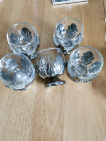 Five mini glasses with silver plated