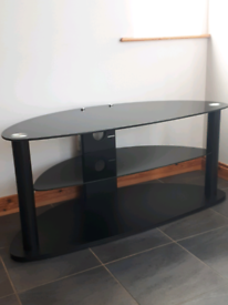 Black Tempered Glass Tv Stand 110 by 52cm