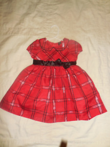 18-24 mo. Red/Black/Gold Plaid Dress