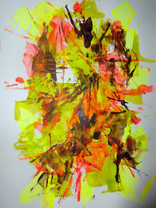 WILD CURRY Original Abstract Art Painting paper Oakville