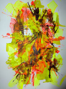 WILD CURRY Original Abstract Art Painting paper Oakville / Valerie Koudelka / Canadian spring orange yellow bright