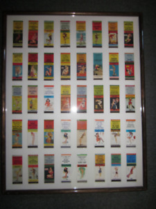 FRAMED PIN-UP GIRL MATCHBOOK COVER COLLECTION. 1940'S