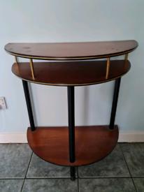 Vintage teak small semi circular table