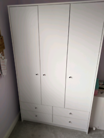 3 door white wardrobe with 4 drawers and shelving