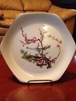 Collectible Japanese plate with bird on tree