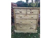 Large antique waxed pine drawers