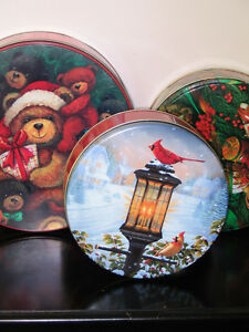 Lot of 3 Christmas Round Metal Cookie Candy Box Peterborough Peterborough Area image 1