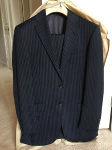 Men's Suit | 36R | W30 | Blue Stripe | 100% Wool