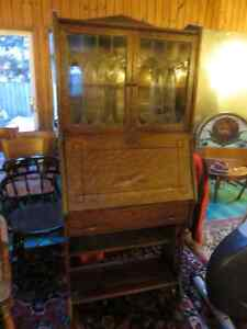 ANTIQUE WOODEN SECRETARY DESK WITH DROP FRONT STAIN GLASS TOP as