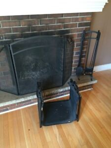 Fireplace screen, tools, wood holder