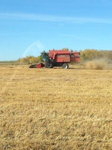 Massey 8680 combine with chaff collector system and headers