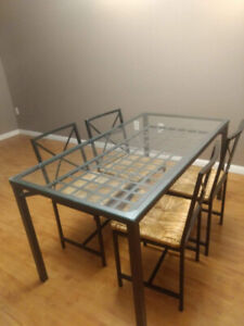 IKEA Granas Glass Dining Table with 4 Chairs