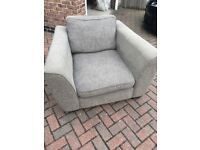 Two grey armchairs