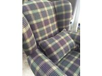 Brand new plaid fabric wing chair & 2 large matching foot stools