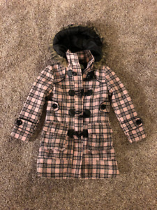 Girls size 4 plaid winter jacket with fur trimmed hood