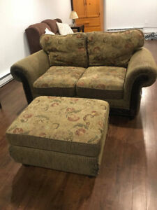 used love seat with ottoman