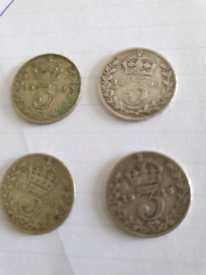 4 x Silver Threepence Queen Victoria