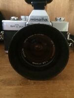 Vintage Minolta SRT-201 35mm camera and gear