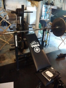 York flat and incline bench press with leg extension