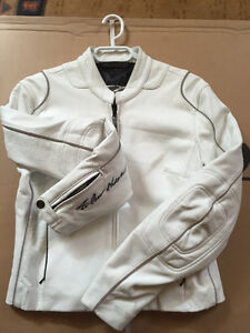 Womens white leather coat