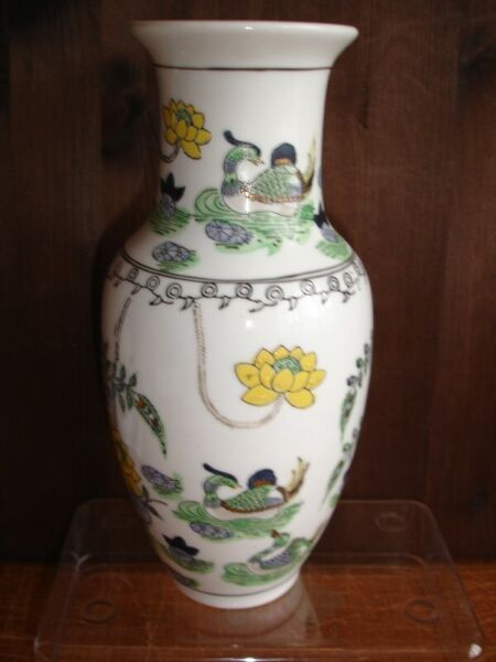 Hand Painted Chinese Porcelain White Vase Ducks and Floral