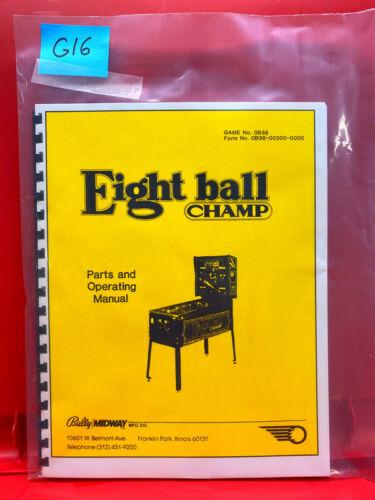 Eight Ball Champ 8 Bally Pinball Instruction/Operation/Service/Repair Manual G16