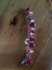 Handmade red and gold bracelet