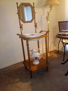 Old fashioned vintage wash stand with basin and pitcher London Ontario image 1