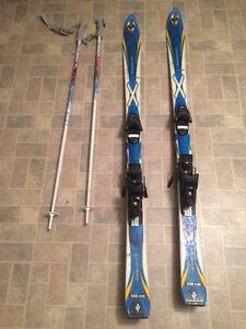 Skis, bindings and poles