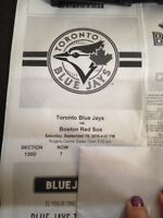 Jays/Red Sox tickets, September 19th, excellent seats!