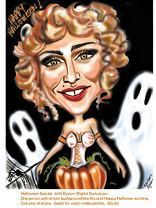 Halloween,Christmas Custom Caricatures from photos! book today
