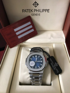 Patek Philippe  Stainless Steel With Blue Dial 40mm Mens Watch