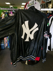 Old School black New Yankees G111 jacket rare size L patches-